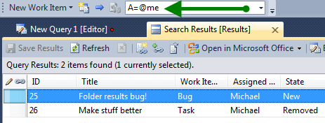 Using Work Item Tracking Search in the Team Foundation
